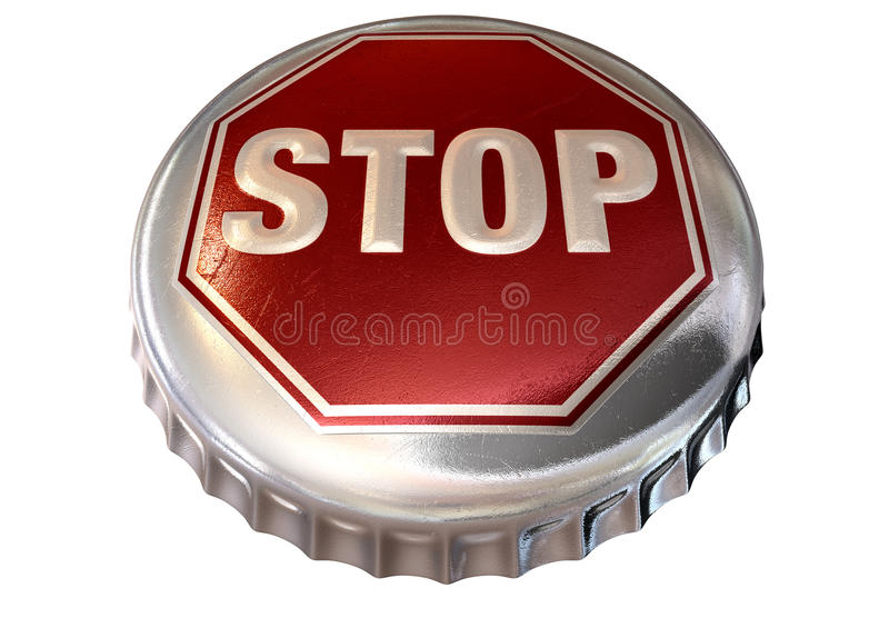 Capped Limit Stop Sign Cap. A regular bottle cap with a stop sign in red embossed on the top representing bandwidth cap or alcohol limits on an isolated stock image