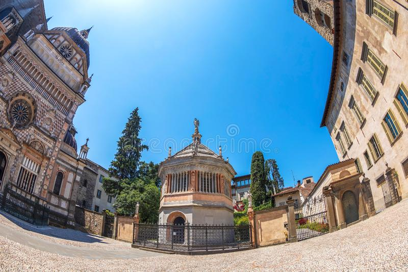 Cappella Coleoni and part of facade from Basilica of Santa Maria Maggiore royalty free stock image