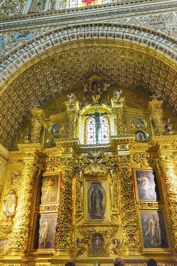 Cappella decorata Santo Domingo de Guzman Church Oaxaca Mexico immagini stock libere da diritti