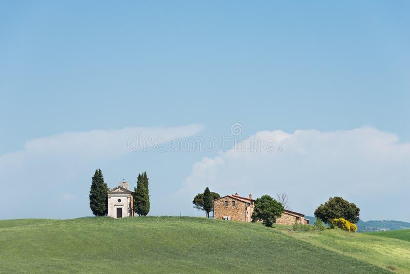 Cappella della Madonna di Vitaleta church in Tuscany royalty free stock images
