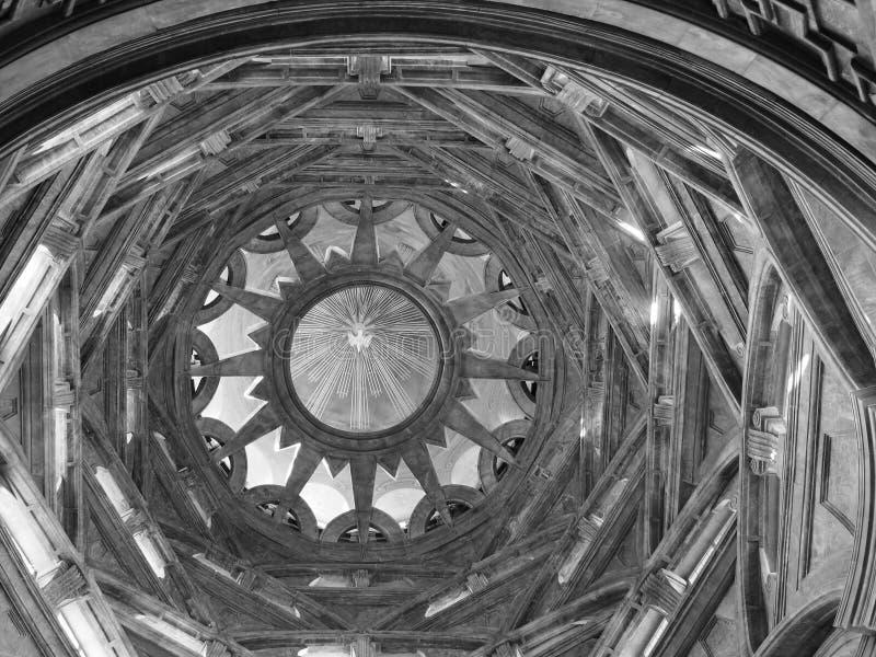 Cappella dellaSindone kupol i Turin i svartvitt fotografering för bildbyråer