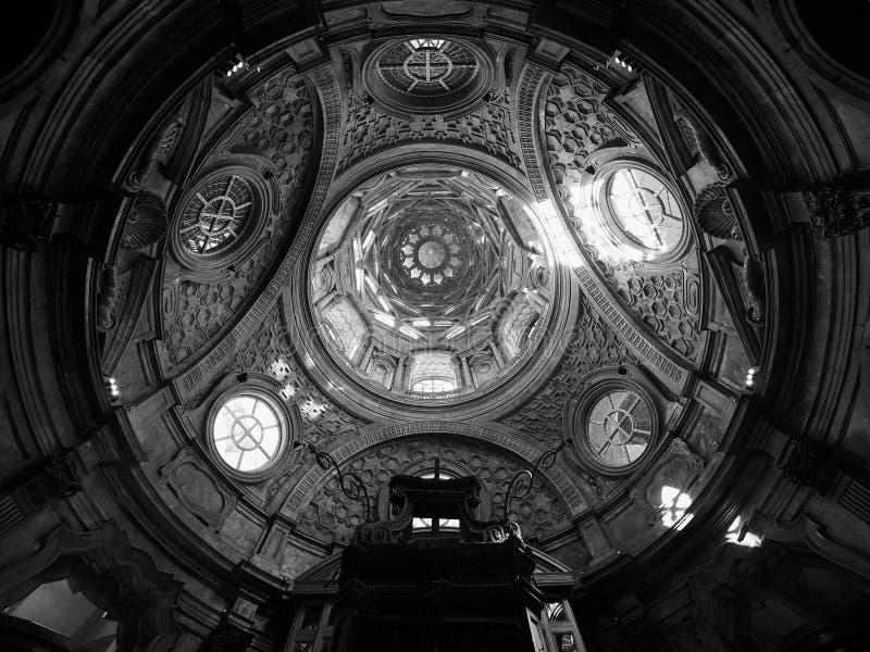 Cappella dellaSindone kupol i Turin i svartvitt arkivfoton