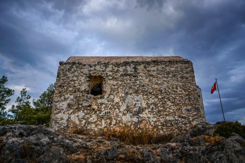 Cappella di Kayakoy nel villaggio historcial di Lycian di Kayakoy, Fethiye, Mugla, Turchia Città fantasma Kayaköy, antico conosc fotografia stock libera da diritti