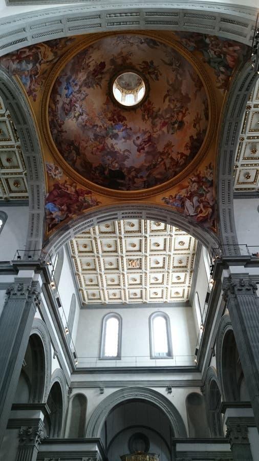 Cappella di Medici a Firenze - dettagli dell'interno della cupola e del soffitto fotografia stock
