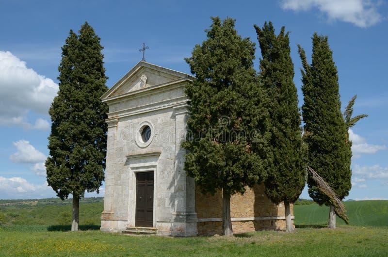 Cappella Di Vitaleta (Toscanië) royalty-vrije stock afbeelding