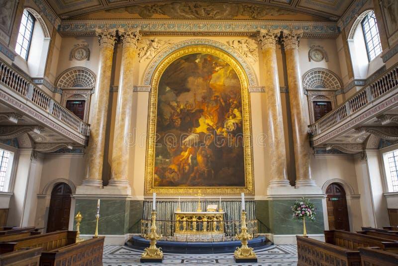 Cappella nel vecchio istituto universitario navale reale a Greenwich fotografia stock libera da diritti