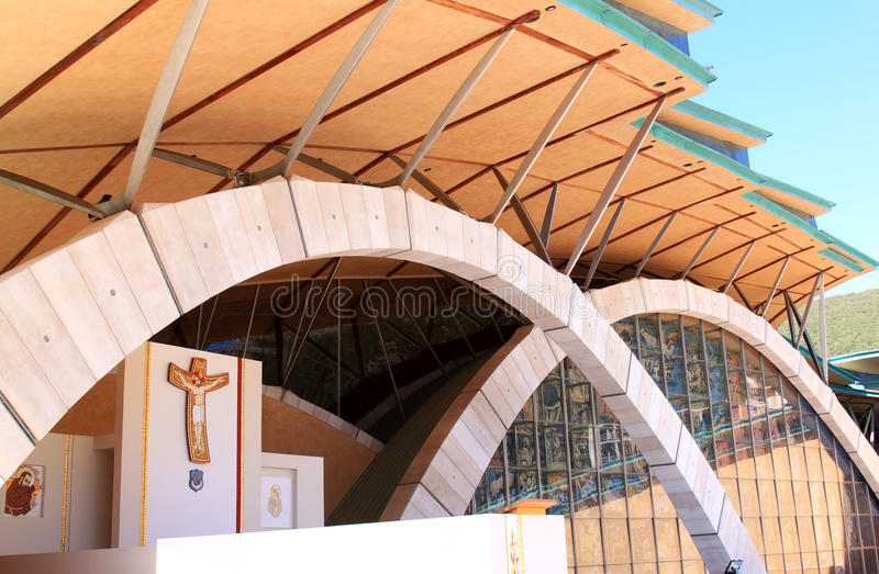 Cappellano Pio Pilgrimage Church, Italia fotografie stock libere da diritti
