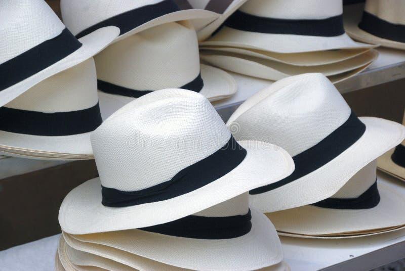 Cappelli di paglia con la fascia nera immagine stock