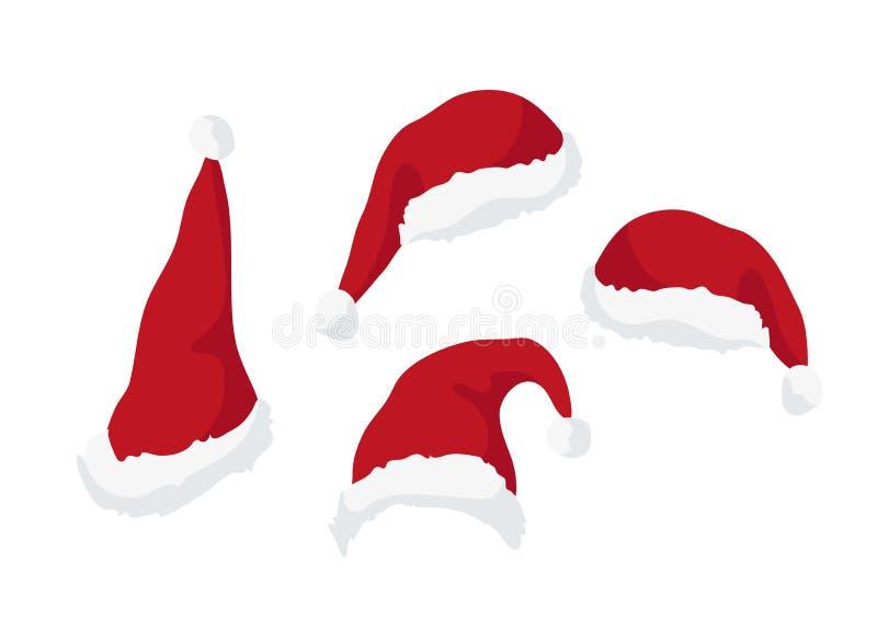 Cappelli di rosso di Santa Claus Progettazione dell'elemento per il manifesto del nuovo anno e di Natale, la carta, l'invito e l' illustrazione vettoriale