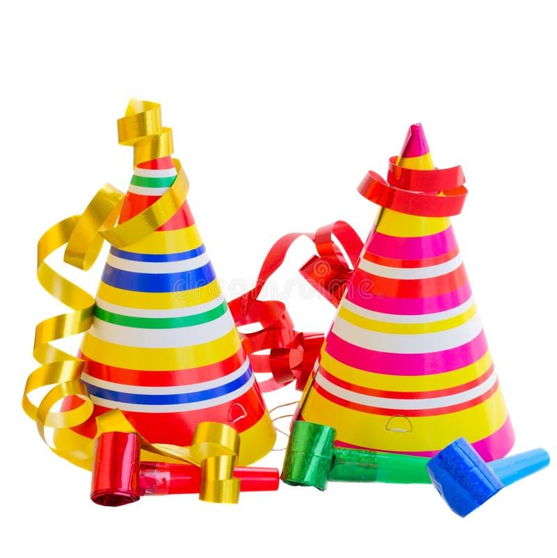 Cappelli e decorazioni per la festa di compleanno immagini stock
