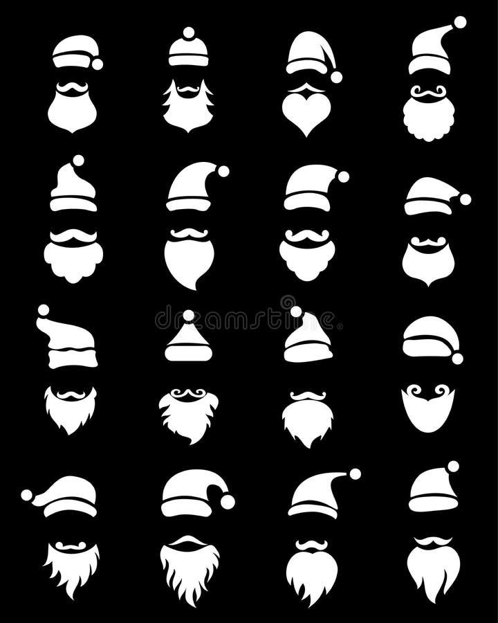 Cappelli ed insieme di Santa delle barbe, stile semplice royalty illustrazione gratis