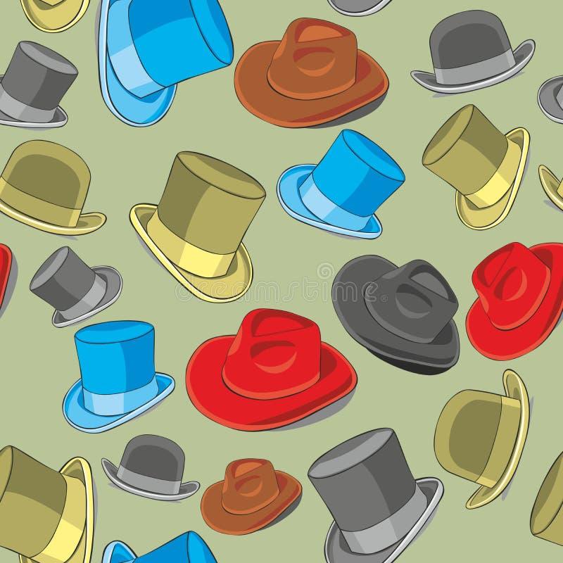 Cappelli isolati reticolo senza giunte royalty illustrazione gratis