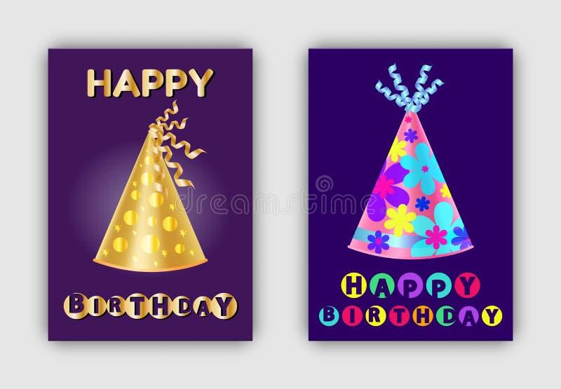 Cappelli realistici brillanti delle insegne di buon compleanno illustrazione vettoriale