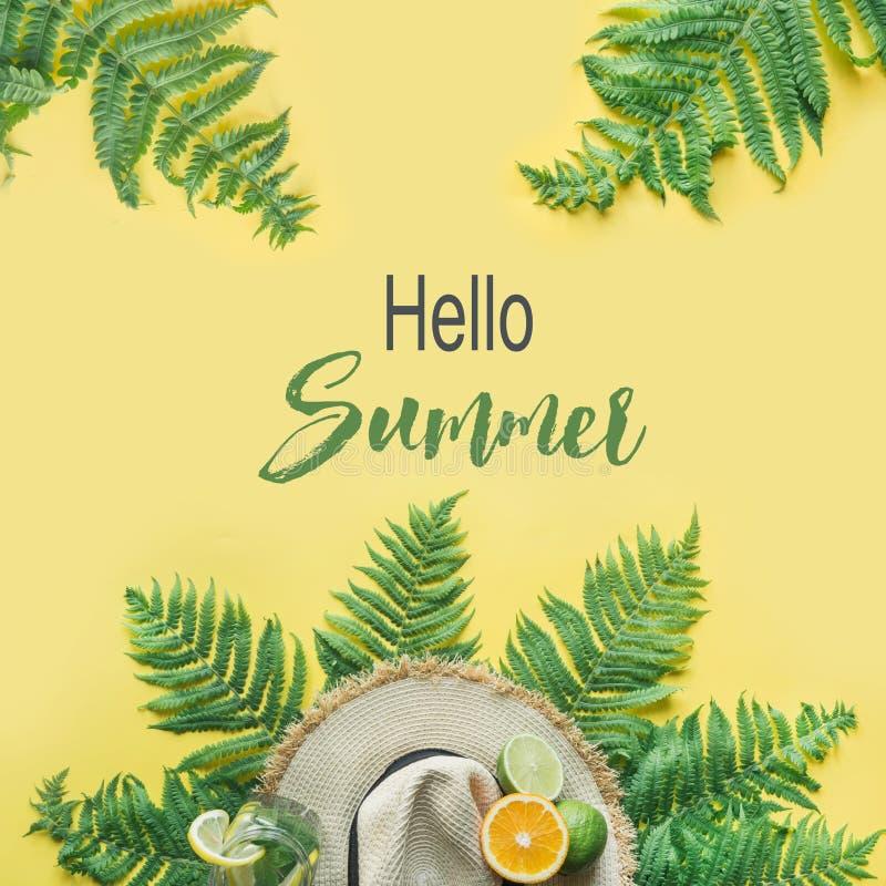 Cappellino da sole femminile della paglia della spiaggia, citrics su giallo Vista superiore Concetto di viaggio di estate Ciao es fotografia stock libera da diritti