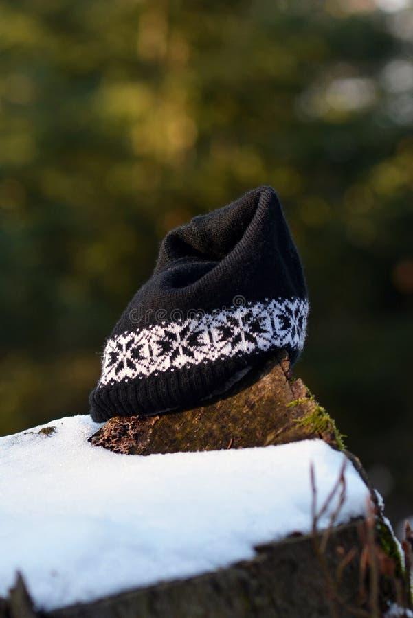 Cappello abbandonato del cofano di inverno che si trova su una roccia con neve nella foresta fotografie stock