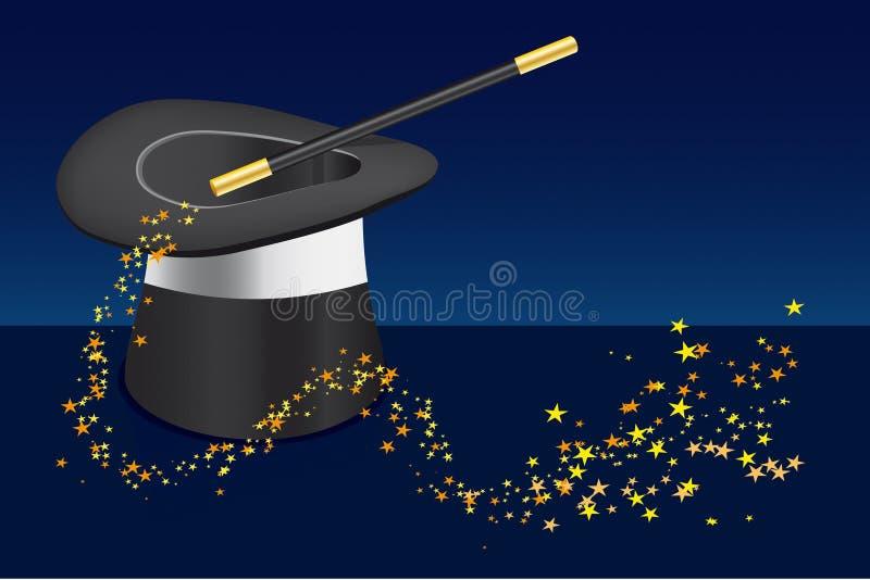 Cappello, bacchetta magica ed archivio di stella-vettore aggiunto illustrazione vettoriale