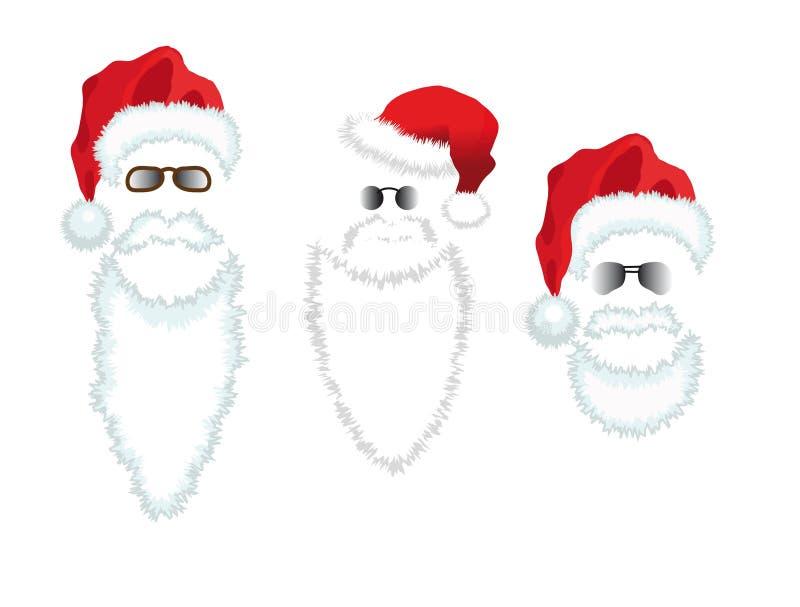 Cappello, barba e vetri rossi del Babbo Natale. illustrazione di stock