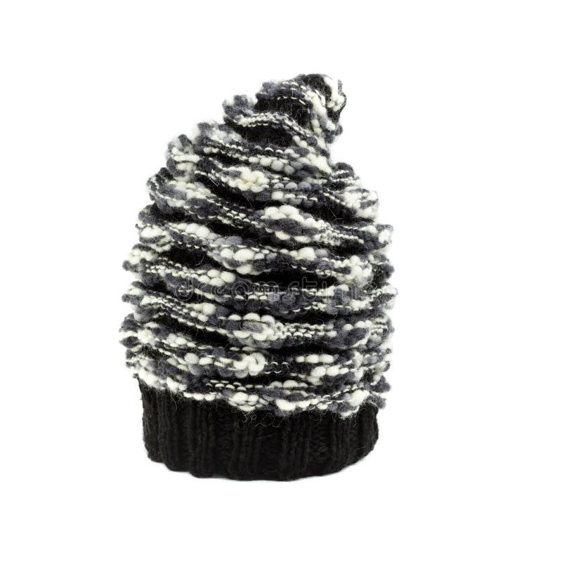 Cappello in bianco e nero di inverno del mohair fotografia stock