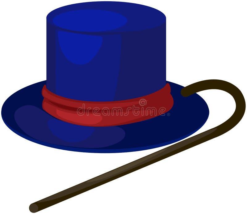 Cappello blu con la canna royalty illustrazione gratis