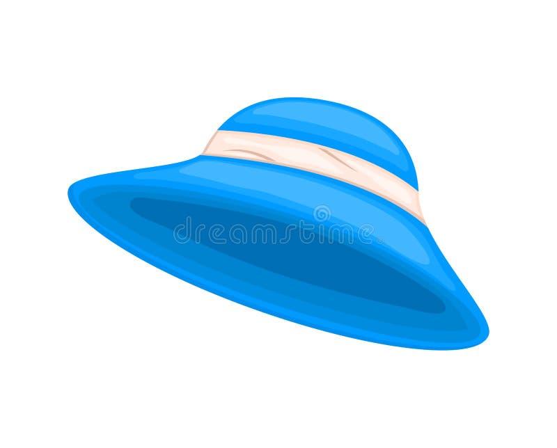 Cappello blu del giardino della donna del fumetto isolato su fondo bianco royalty illustrazione gratis