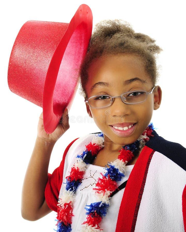 Cappello-capovolgimento del patriota del bambino immagine stock