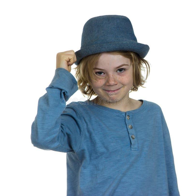 Cappello che capovolge il bambino del ragazzo del signore immagine stock