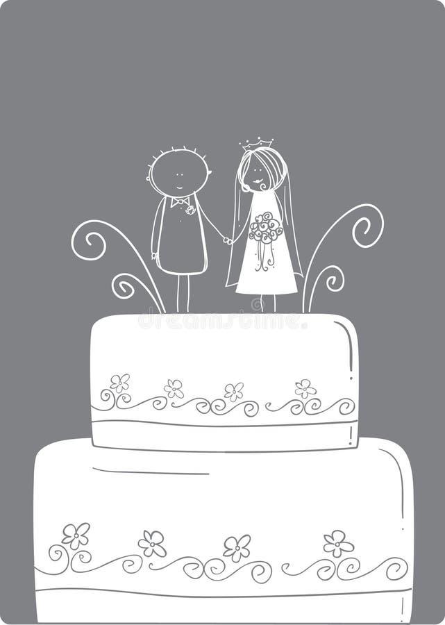 Cappello a cilindro della torta di cerimonia nuziale illustrazione vettoriale