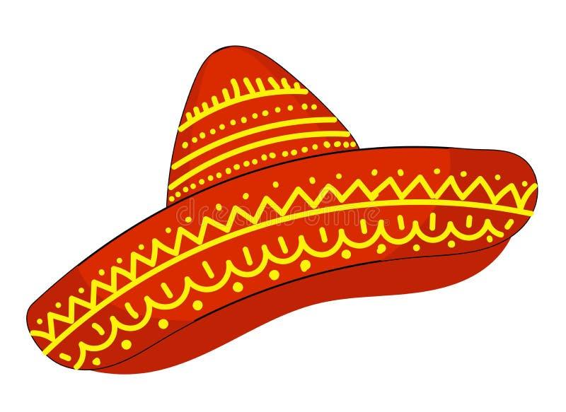 Cappello Cinco de Mayo Illustrazione di vettore del simbolo di festa del sombrero Isolato sull'illustrazione bianca di vettore de royalty illustrazione gratis
