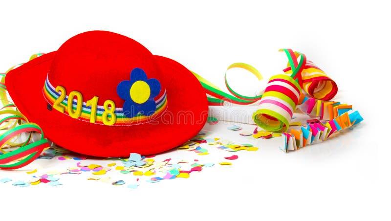 Cappello con 2018, decorazione ai nuovi anni EVE fotografia stock
