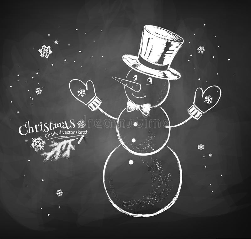 Cappello d'uso del cilindro del carattere del pupazzo di neve illustrazione di stock