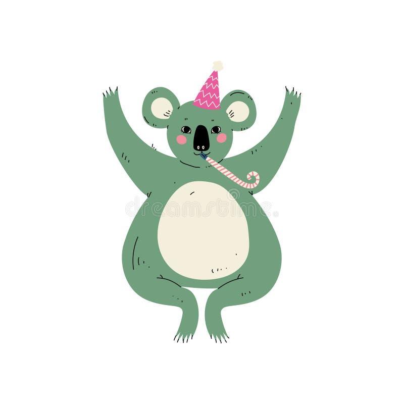 Cappello d'uso del partito dell'orso sveglio di Coala con l'informatore, carattere animale sveglio per il vettore di progettazion royalty illustrazione gratis