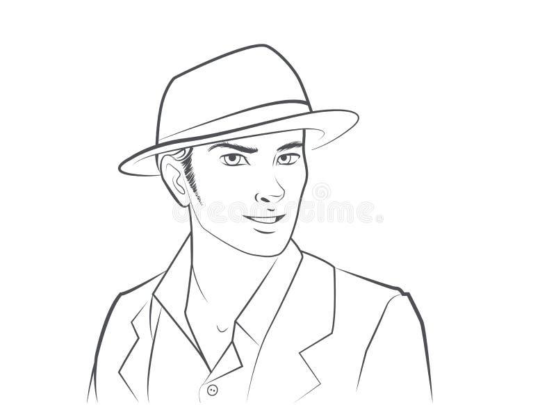 Cappello d'uso dell'uomo illustrazione di stock