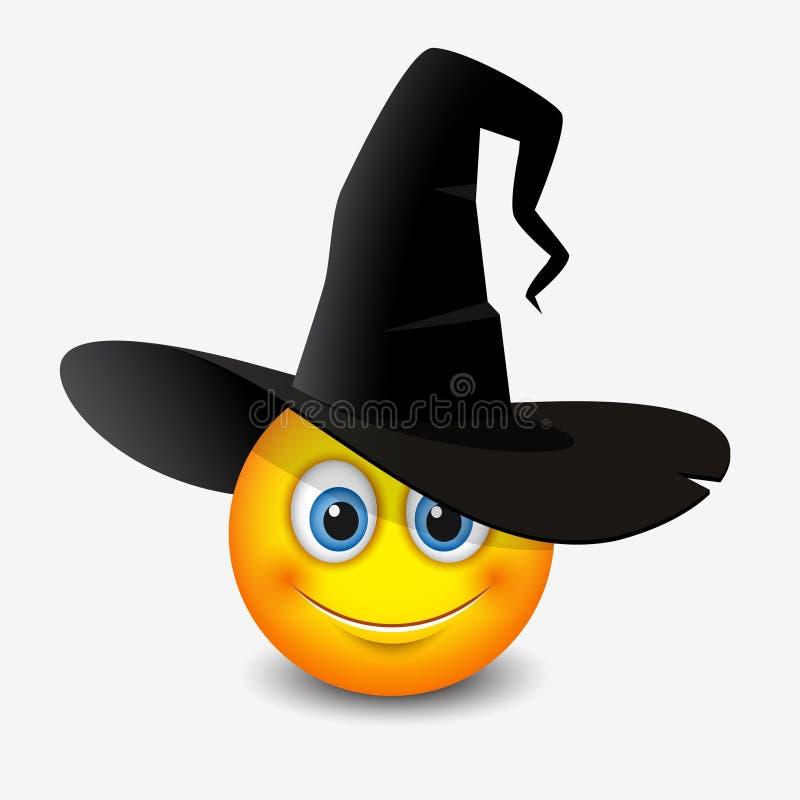 Cappello d'uso della strega dell'emoticon sveglio - smiley, emoji - vector l'illustrazione illustrazione vettoriale