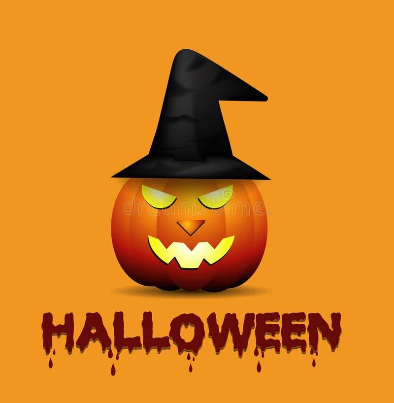 Cappello d'uso della strega della zucca di Halloween del fumetto fotografia stock