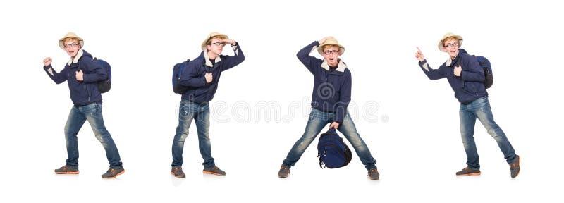 Cappello d'uso di safari dello studente divertente fotografia stock libera da diritti