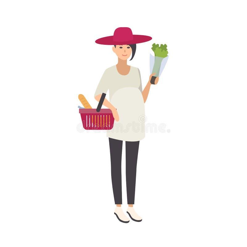 Cappello d'uso sorridente alla moda della donna incinta e cestino della spesa di trasporto con alimento sano ed i prodotti sani illustrazione vettoriale