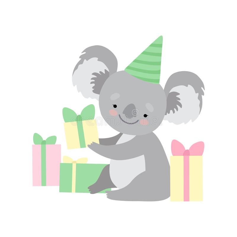 Cappello d'uso sveglio che si siede con i contenitori di regalo, illustrazione divertente del partito dell'orso di koala di Grey  illustrazione vettoriale