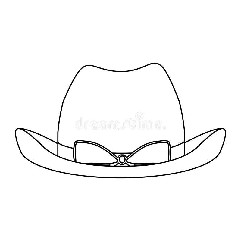 cappello da cowboy del pizzo della siluetta con retro progettazione dell'arco illustrazione di stock