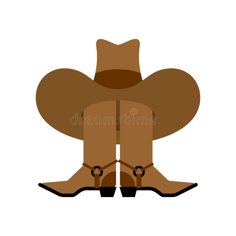 Cappello da cowboy e stivali isolati accessorio occidentale Scarpe ad ovest selvagge illustrazione di stock