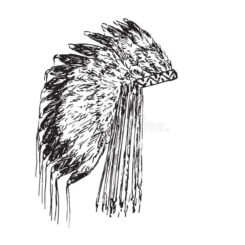 Cappello degli indiani, scarabocchio disegnato a mano, schizzo della piuma di Eagle nello stile dell'intaglio in legno, illustraz illustrazione vettoriale