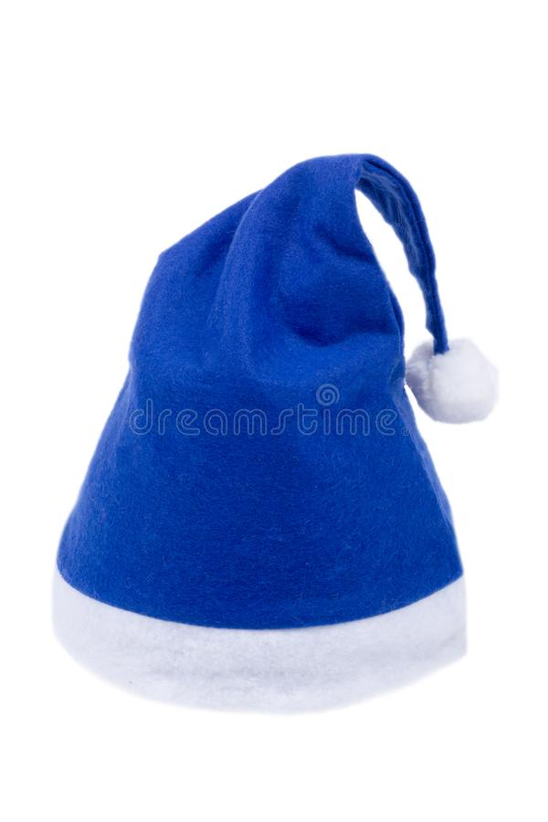 Cappello del blu del Babbo Natale fotografia stock