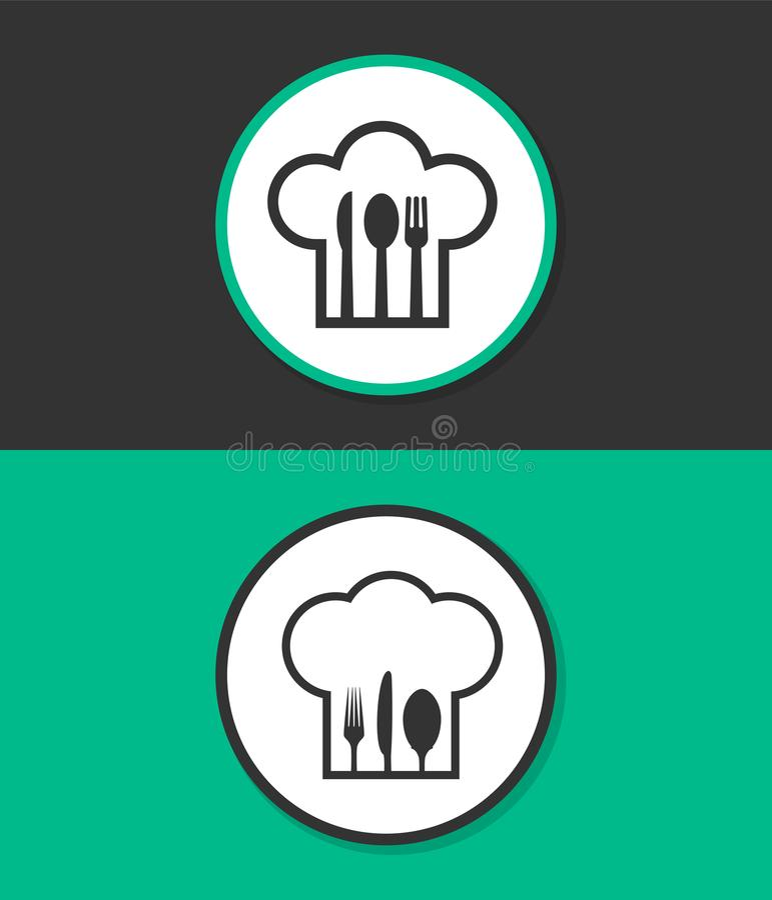 Cappello del cuoco unico con la forchetta, il cucchiaio ed il coltello dentro immagine stock