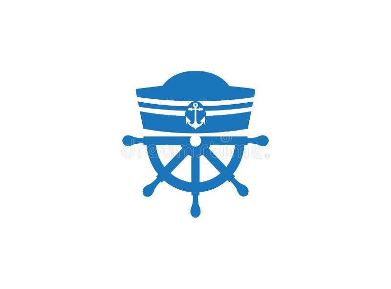 Cappello del marinaio e ruota della nave per l'illustrazione di progettazione di logo su un fondo bianco royalty illustrazione gratis