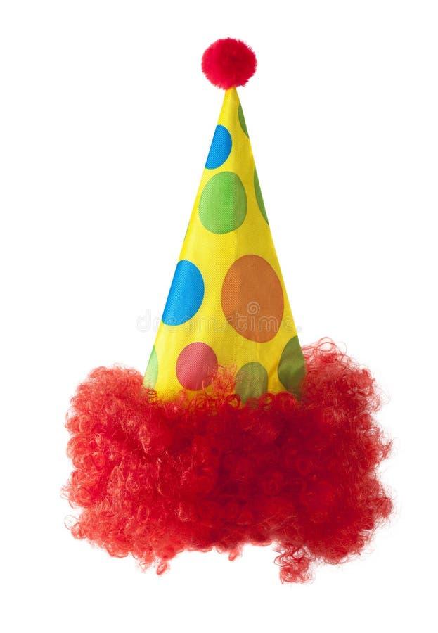Cappello del pagliaccio con capelli rossi fotografie stock libere da diritti