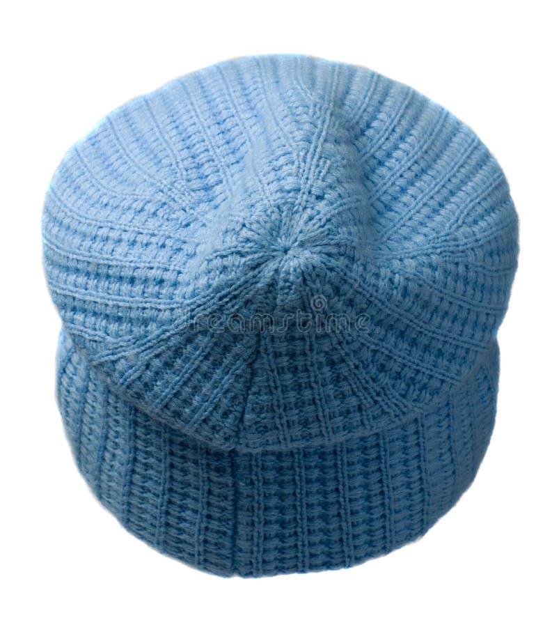 Cappello del ` s delle donne Cappello tricottato isolato su fondo bianco Cappello blu fotografia stock libera da diritti