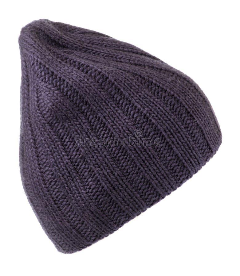 Cappello del ` s delle donne cappello tricottato isolato su fondo bianco, cappello del bue immagini stock libere da diritti