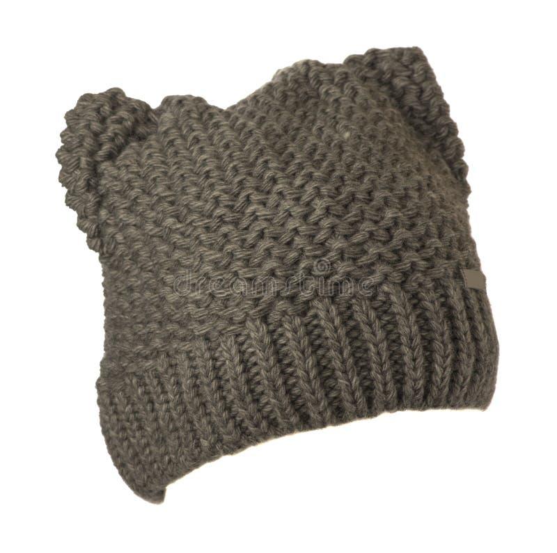Cappello del ` s delle donne Cappello tricottato isolato su fondo bianco Cappello grigio fotografia stock libera da diritti