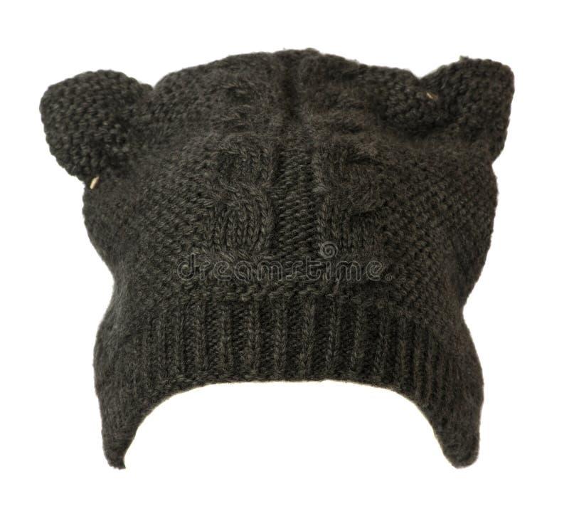 Cappello del ` s delle donne Cappello tricottato isolato su fondo bianco h grigia immagini stock libere da diritti