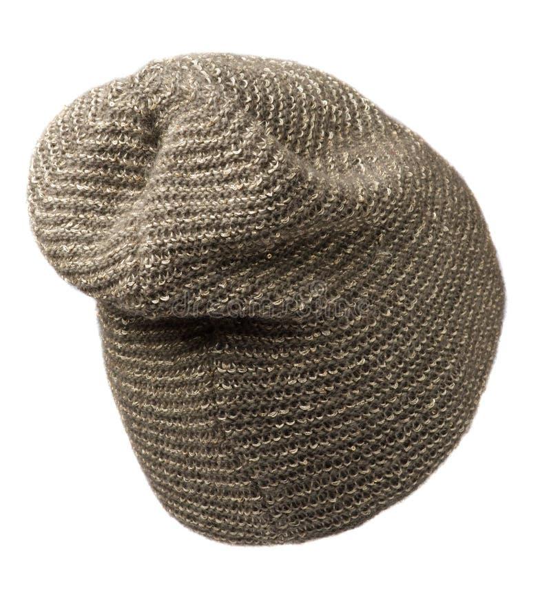 Cappello del ` s delle donne Cappello tricottato isolato su fondo bianco h marrone immagine stock