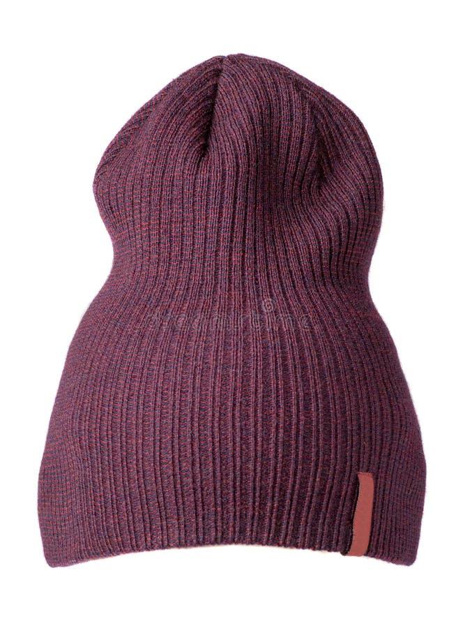 Cappello del ` s delle donne Cappello tricottato isolato su fondo bianco h porpora fotografia stock